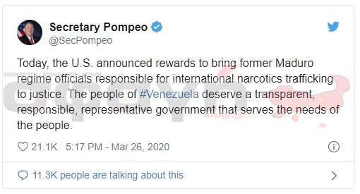 pompeo secretary maduro - Αμοιβή 15 εκατομμυρίων δολαρίων για την σύλληψη του Μαδούρο.